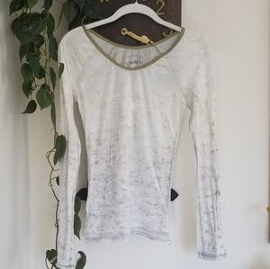 Free People Long Sleeve Burnout Butterfly Tee M